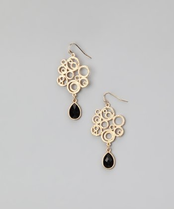 Gold & Black Cubic Zirconia Spiral Earrings
