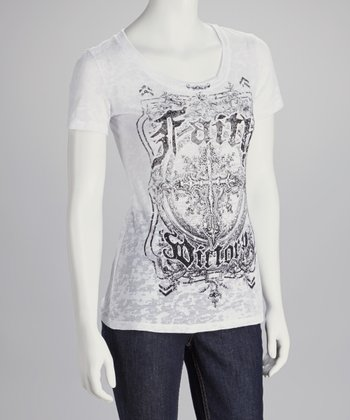 White Rhinestone 'Faith Victory' Scoop Neck Top