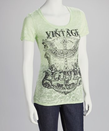 Lime Rhinestone 'Vintage Love' Scoop Neck Top