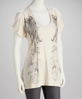 Cream Tattoo Cutout Top  - Women
