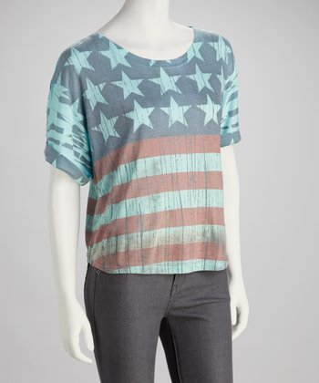 Aqua American Flag Crop Top - Women