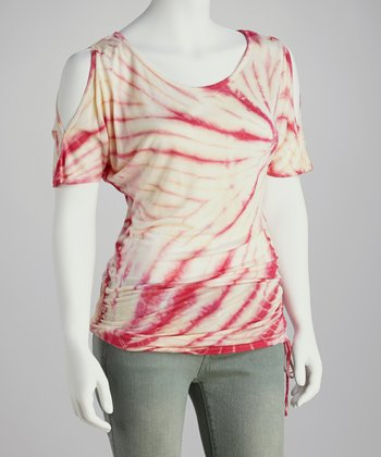 Pink Tie-Dye Ruched Top - Women