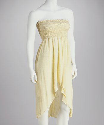 Yellow Slub Shirred Strapless Dress - Women