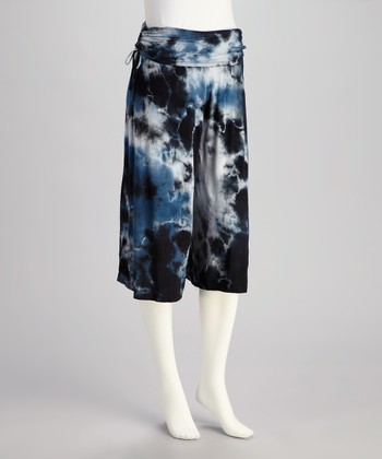 Blue Tie-Dye Gaucho Pants- Women