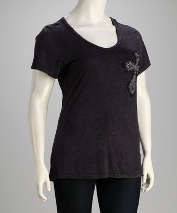 Dark Navy Embellished Cross Plus-Size Short-Sleeve Tee