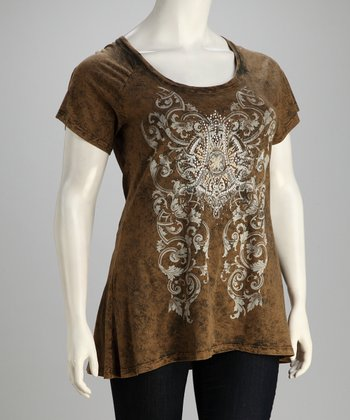 Coffee Vintage Chandelier Scoop Neck Tee - Plus
