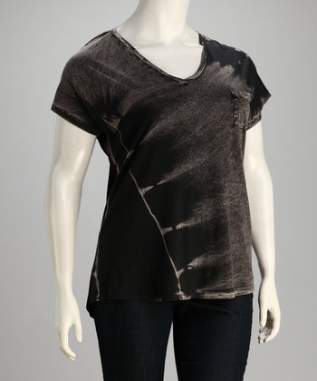 Black Tie-Dye V-Neck Top - Plus