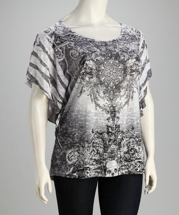 White Tattoo Sublimation Dolman Top - Plus