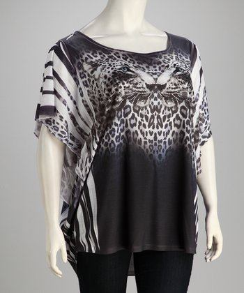 Gray & Black Leopard Sublimation Dolman Tunic - Plus