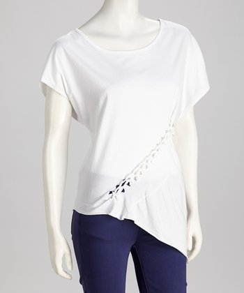 White Braided Dolman Top - Women
