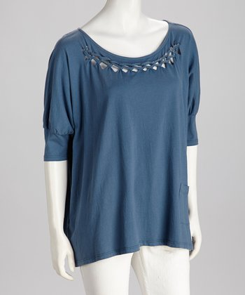 Blue Braided Scoop-Neck Top - Women