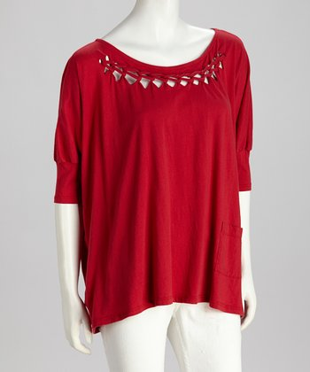Red Braided Scoop-Neck Top - Women
