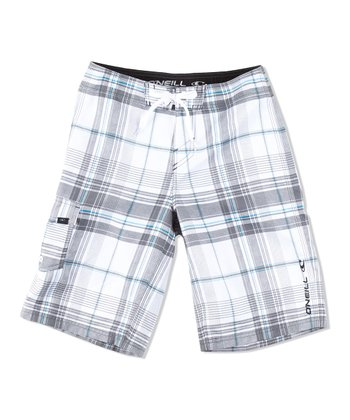 White Santa Cruz Plaid Boardshorts