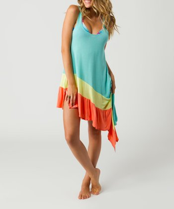Seafoam Color Block Wizard Asymmetrical Dress