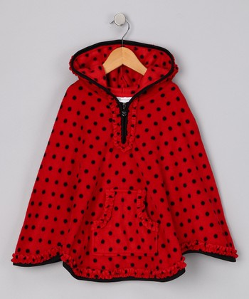 Red Polka Dot Fleece Poncho - Girls