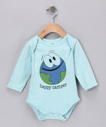 Bubble Blue 'Happy Camper' Long-Sleeve Organic Bodysuit - Infant