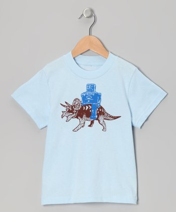 Light Blue Robot & Triceratops Tee - Infant, Toddler & Boys