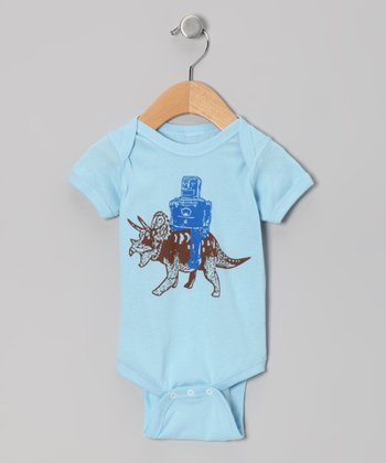 Light Blue Robot & Triceratops Bodysuit - Infant