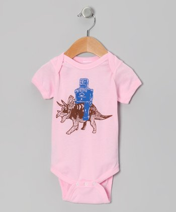 Light Pink Robot & Triceratops Bodysuit - Infant