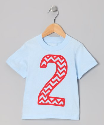 Light Blue Zigzag Stripe 2 Tee - Toddler