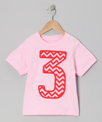 Light Pink Zigzag Stripe 3 Tee - Toddler