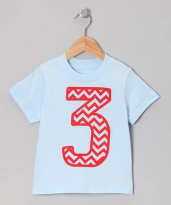 Light Blue Zigzag Stripe 3 Tee - Toddler
