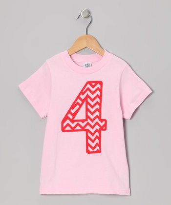 Light Pink Zigzag Stripe 4 Tee - Girls