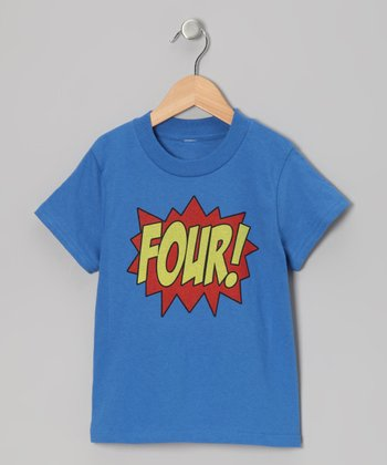 Royal Blue 'FOUR!' Tee - Kids