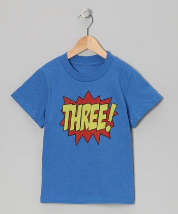 Royal Blue 'THREE!' Tee - Toddler