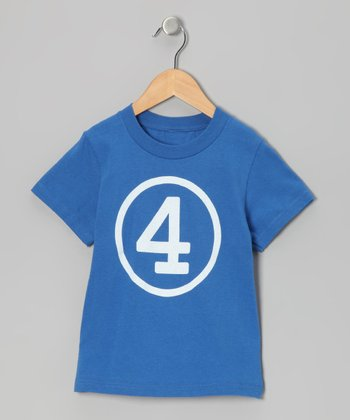 Royal Blue Fourth Birthday Circle Tee - Kids