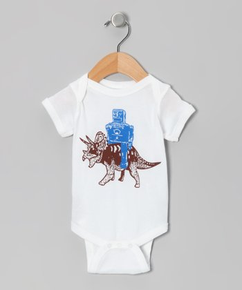 White Robot & Triceratops Bodysuit - Infant