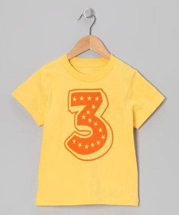 Yellow Superstar 3rd Birthday Tee - Toddler