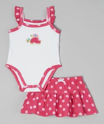 Weeplay Kids Fuchsia Polka Dot Bodysuit & Skirt - Infant