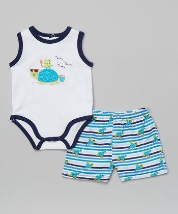 Weeplay Kids Navy & Black Turtle Bodysuit & Shorts - Infant