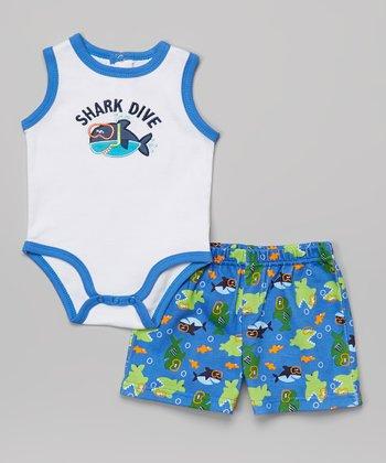 Weeplay Kids Blue 'Shark Dive' Bodysuit & Shorts - Infant
