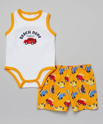 Weeplay Kids Orange 'Beach Dude' Bodysuit & Shorts - Infant
