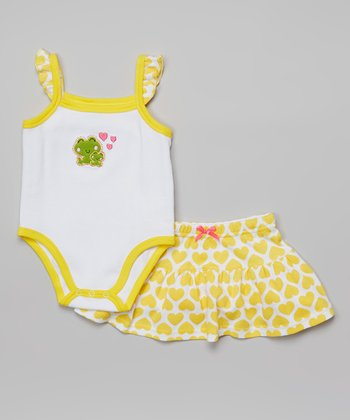 Weeplay Kids Yellow Heart Bodysuit & Skirt - Infant