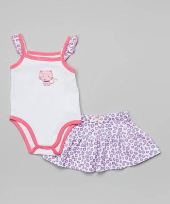 Weeplay Kids Pink Leopard Bodysuit & Skirt - Infant