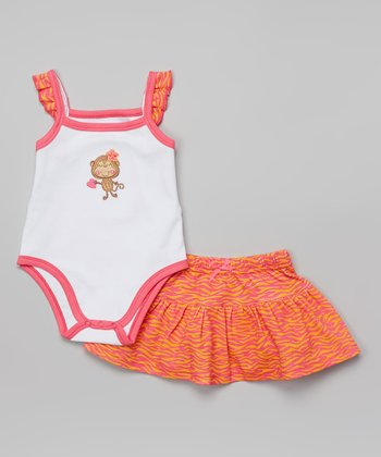 Weeplay Kids Hot Pink Zebra Stripe Bodysuit & Skirt - Infant