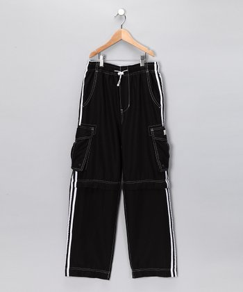 Black Race Stripe Zip Cargo Pants