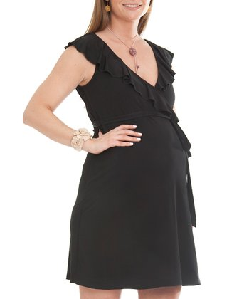 Black Scarlet Silk-Blend Maternity Wrap Dress