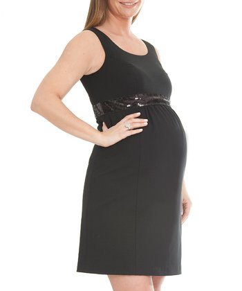 Black Katelyn Wool-Blend Maternity Dress