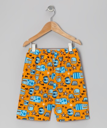 Orange Monster Fish Shorts - Infant, Toddler & Boys