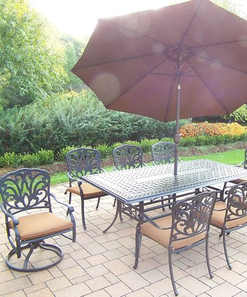 Antique Bronze 11-Piece Outdoor Dining Set
