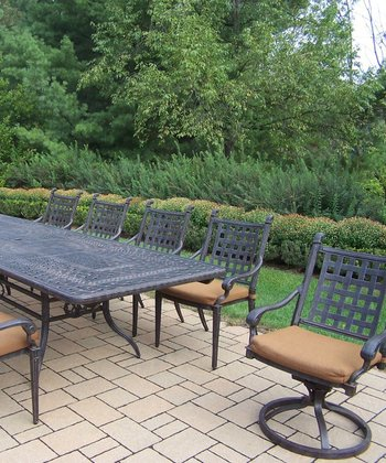 Aged Finish Belmont 11-Piece Outdoor Dining Set