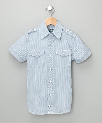 Blue Unusual Suspect Short-Sleeve Shirt - Toddler & Boys