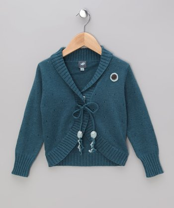 Dark Aqua Agneta Jellyfish Cardigan - Toddler & Girls