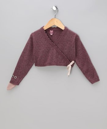 Purple Bird Lamb's Wool Bolero - Toddler & Girls