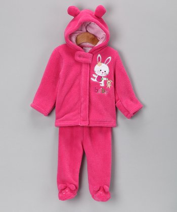 Dark Pink Bunny Zip-Up Hoodie & Footie Pants