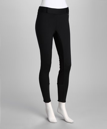 Black Fullseat Sit 'N' Warm Windpro Breeches - Women